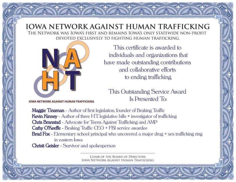NAHT Outstanding Contribution Certificate