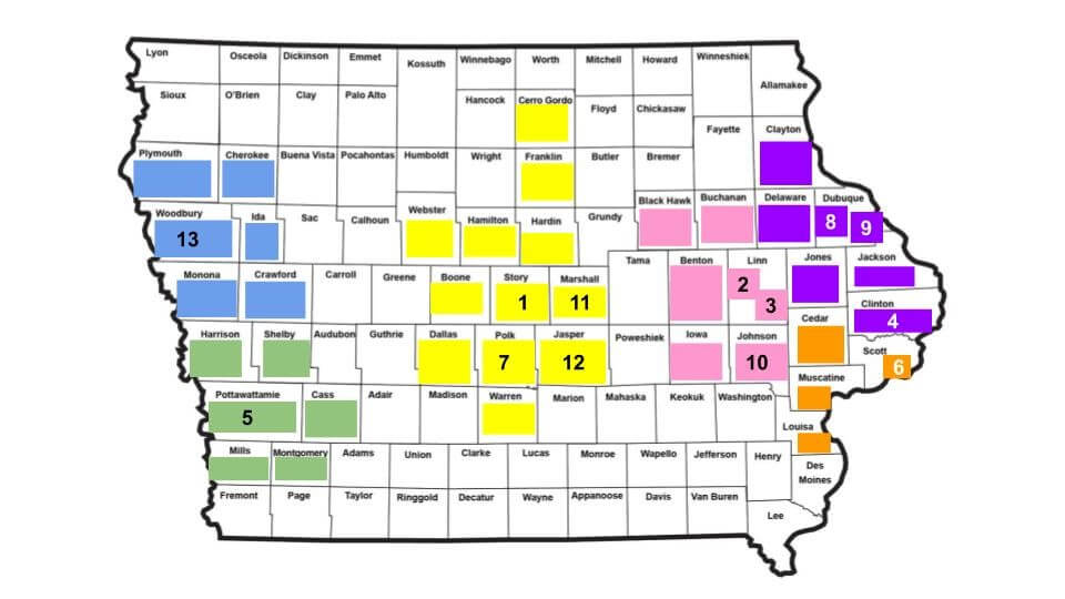 Map of regional anti-trafficking coalitions in Iowa