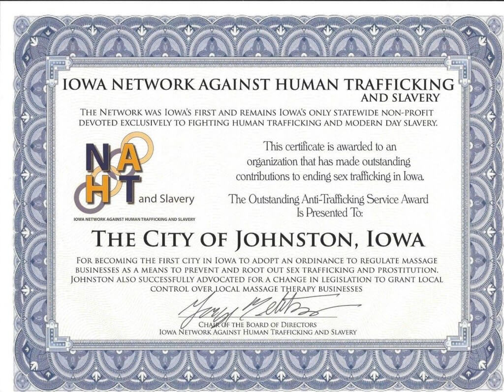 City of Johnston Iowa certificate