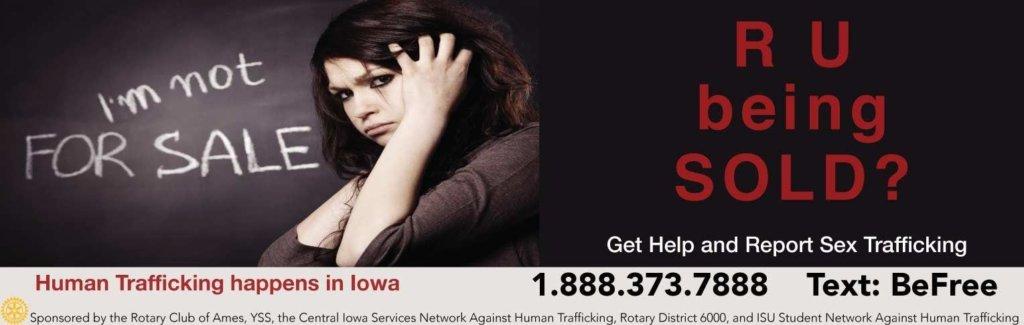 Human Trafficking Awareness Cyride Sign