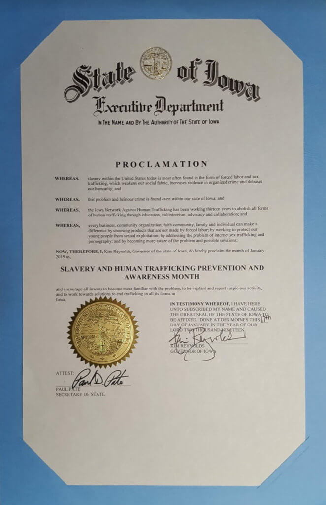 proclamation against human trafficking